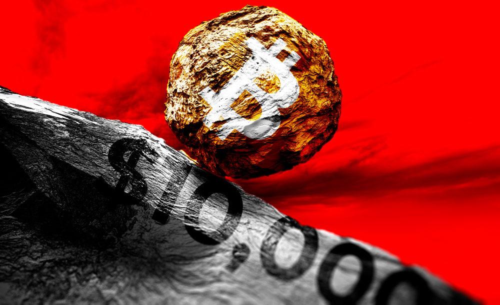 Цена биткоина опять подешевела до отметки ниже 10 000 долларов